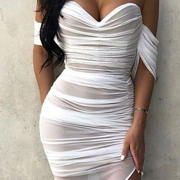 Explosive women's sexy waist split openwork mesh dress