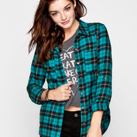 Full Tilt Womens Washed Boyfriend Flannel Shirt Teal Blue  In Sizes