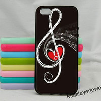 TMusic   iPhone 5C Case, iPhone 5/5s Case,iPhone 4/4s, samsung galaxy s5 case Music Notes Peace Sign Protective Sleek Slim  Black Gray Glee