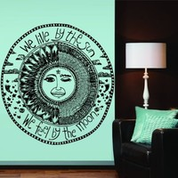 Large Interior Wall Decal Decor Decals Sticker Art Vnyl Design Sun Crescent We Live By the Sun We Feel By the Moon Dual Sign Ethnical Symbol Moon (M1281)
