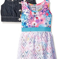 Kensie Little Girls Denim Vested Maxi Dress, Multi, 4