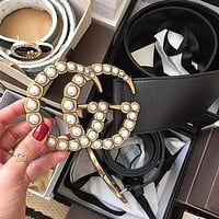 GUCCI Fashion Women Men Simple Smooth Buckle Leather Belt Pearl buckle
