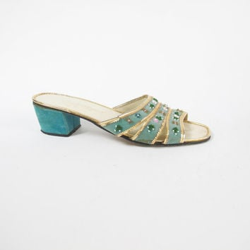 1960s Mules Beaded Slippers Slip On Sandals Turquoise Blue Heels Gold Velvet Floral Sandals Backless Heels Open Toe Retro Mod Mad Men (6)