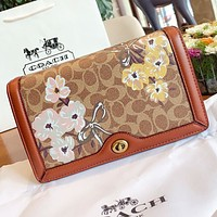 COACH Fashion New floral pattern leather crossbody bag shoulder bag