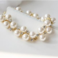Awesome Great Deal Hot Sale Gift Shiny New Arrival Korean Vintage Stylish Accessory Gold Rhinestone Pearls Bracelet [6044195905]