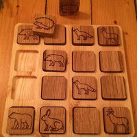 Waldorf inspired Natural Wood Toy, Montessori Inspired Memory Game, MATCH ME Game, Woodland Forest Themed, Eco Friendly Memory Game