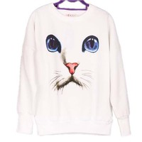Kitty Cat with Large Blue Eyes Graphic Face Print White Pullover Sweater Jersey Jumper