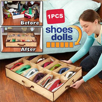 New 12 Pairs Shoes Storage Box Nonwoven Fabric Waterproof Folding Shoe Holder canvas shoe storage shoe organizer