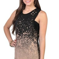 high low speckled tunic tank top with star studded shoulders