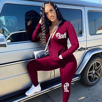 PINK Victoria's Secret Women Casual Fashion Top Sweater Pullover Pants Trousers Set Two-Piece