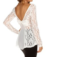 Sale-ivory Top It Off With A Bow Lace Top
