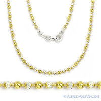 Sterling Silver 14k Yellow Gold Ball Bead Link Chain Long Necklace Italian Italy