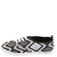Aztec Canvas Lace-Up Sneaker by Charlotte Russe - Black/White