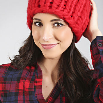 soft and chic knit beanie - red