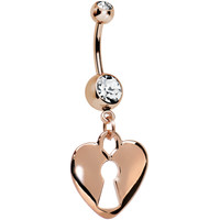 Clear Gem Rose Gold Plated Lock and Key Dangle Belly Ring | Body Candy Body Jewelry