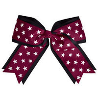Reach for the Stars with the Jumbo Sized  2 Color Star Ribbon Cheerleading Hair Bow