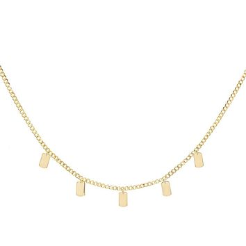 Engraved Tag Chain Necklace 14K