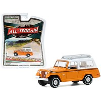 """1971 Jeep Jeepster Commando with Roof Rack Orange with White Top \All Terrain\"""" Series 10 1/64 Diecast Model Car by Greenlight"""""""