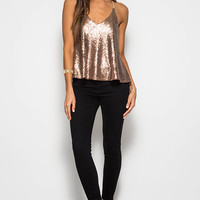 Sequin Swing Tank Top with Contrast Spaghetti Straps