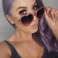 Glitter Heart Shaped Sunglasses Lolita Oversized  Glasses - Lana