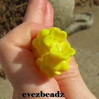 13mm Sunny Yellow Czech Glass Flower Loose Bead Caps  | evezbeadz - Craft Supplies on ArtFire