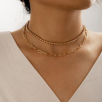 Gold Bead Thick Clavicle Chain Choker Necklace for Women Alloy Metal Adjustable Jewelry Gift Collar