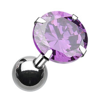 Round Glass-Gem Crystal Cartilage Tragus Earring
