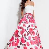 Rachel Allan 7111 Strapless Floral Printed Ball Gown