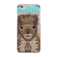 """Art Love Passion """"Squirrel"""" Teal Brown iPhone Case"""