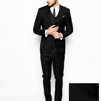ASOS Slim Fit Suit in 100% Black Wool at asos.com