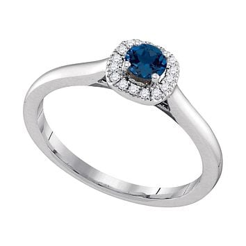 14k White Gold Round Blue Sapphire Diamond Solitaire Ring 1/3 Cttw