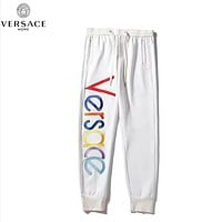 Versace Fashion New Embroidery Multicolor Letter High Quality Sports Leisure Women Men Pants White