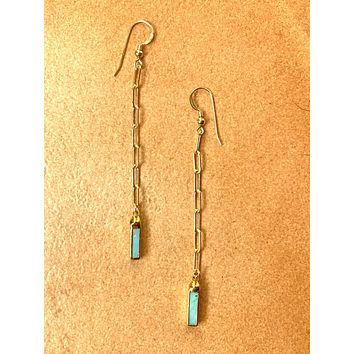 Paper clip chain and turquoise earrings