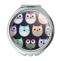 Colorful Owls Cute Pattern Compact Purse Mirror