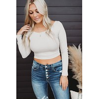 Fool For You Wrap Top (Taupe Grey)