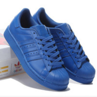 "Fashion ""Adidas"" Shell-toe Flats Sneakers Sport Shell-toe Pure color Shoes (7-Color) Blue"