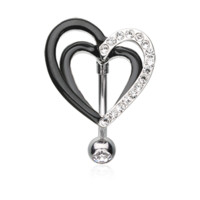 Sparkle Layered Heart Reverse Belly Button Ring Navel Ring Body Jewelry