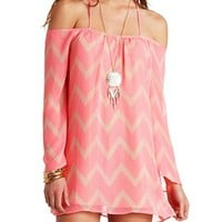BACKLESS OFF-THE-SHOULDER CHEVRON SHIFT DRESS