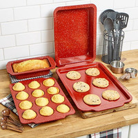 Bakeware Ovenware Cookware Red Speckled Carbon Steel Durable Dishwasher Safe