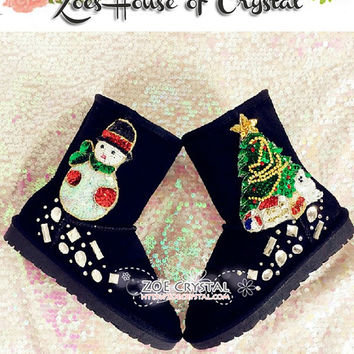 BLACK FRIDAY Sales 30% off - Bling and Sparly Black Winter BOOTS with Sequins and Rhinestone Christmas Tree and Snowmans