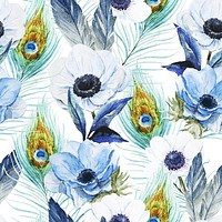 Poppies and Peacocks Wallpaper