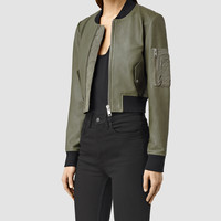 Womens Wells Leather Bomber Jacket (KHAKI GRN/KHAKIGRN) | ALLSAINTS.com