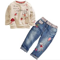 Toddlers Cute Baby Sets With Long Sleeve + Jeans Baby Sets Spring Dresses for Baby