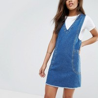 ASOS TALL Denim Chuck On Mini Dress in Vintage Blue Wash at asos.com