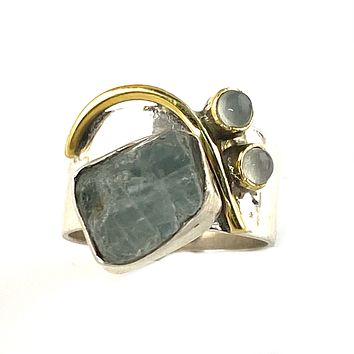 Aquamarine Rough & Moonstone Two Tone Sterling Silver Band Ring