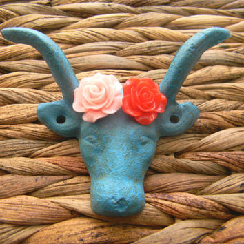 Cast Iron Wall Hook,Western Rustic Decor,Blue Cow, Pink Rose, Red Rose,Longhorn Steer Drawer Pull, Rustic Home Decor,Animal Hook,
