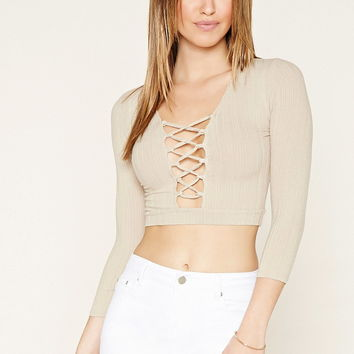 Lace-Up Crop Top