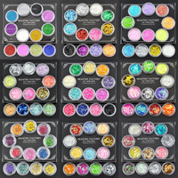 Collection Nail Art Glitter Mylar Strips Crushed Shell Chips Dried Flower 259K