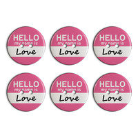 Love Hello My Name Is Plastic Resin Button Set of 6