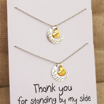 Thank you for standing by my side Love you Mom Love You Daughter Two Necklaces Gift Wrapped Fashion Gift Card Necklaces